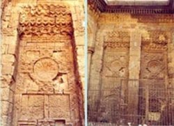 Western Façade niche, Several longitudinal cracks, Deteriorated stone and Turkish ceramic tiles.deteriorated and missing stone p